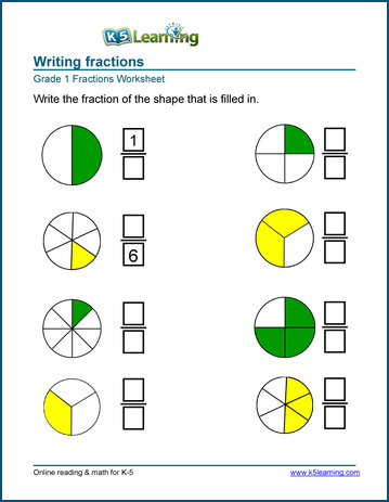 1st Grade Fractions - Math Worksheets | K5 LearningWriting fractions worksheets Writing fractions worksheet
