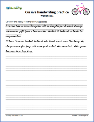 Cursive Handwriting Worksheet on handwriting passages