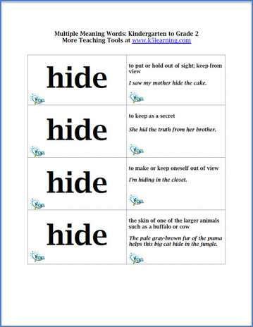 Printable Worksheets words with multiple meaning worksheets : Flashcards Practice for Multiple Meaning Words for Kindergarten to ...