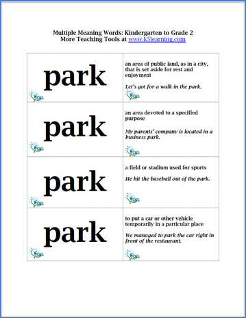 Multiple Meaning Words Practice For Elementary Students