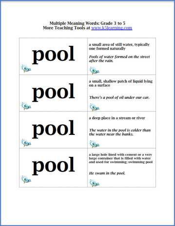 Multiple Meanings Words Flashcards