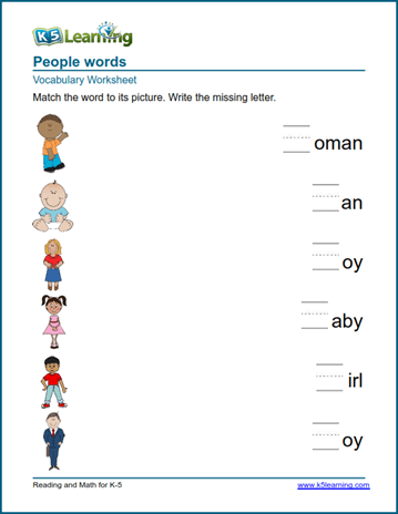 Kindergarten vocabulary practice - people words | K5 Learning
