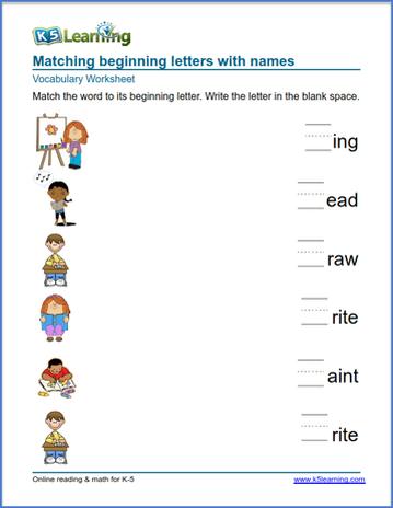 Kindergarten vocabulary practice - practice words | K5 Learning
