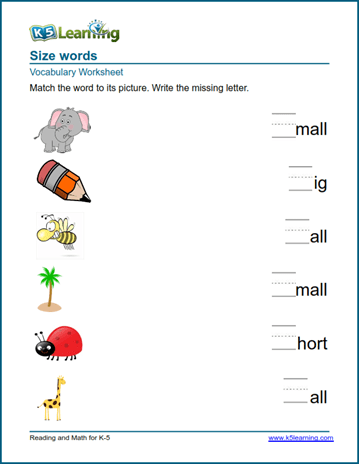 Kindergarten Vocabulary Practice