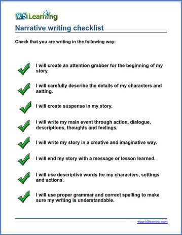 checklist for narrative writing