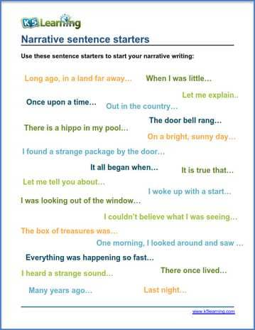 sentence starters for narrative writing