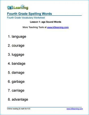 Fourth Grade Spelling Words K5 Learning. Lesson 1 Age Sound Words 4th Grade Spelling Worksheets. Worksheet. Transition Words Worksheet For 4th Grade At Clickcart.co