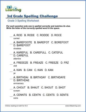 grade 3 spelling worksheet correct spelling k5 learning. Black Bedroom Furniture Sets. Home Design Ideas