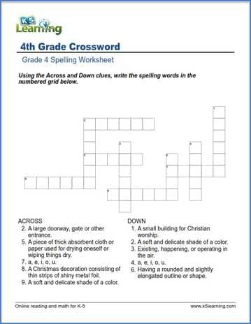 grade 4 spelling worksheet crossword k5 learning. Black Bedroom Furniture Sets. Home Design Ideas