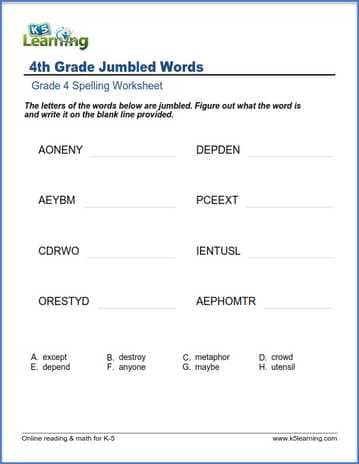 Grade 4 spelling worksheet jumbled words