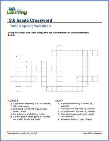 crossword worksheets for grade 5 k5 learning. Black Bedroom Furniture Sets. Home Design Ideas