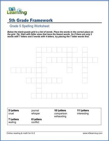 Grade 5 Spelling Worksheet Word Framework K5 Learning
