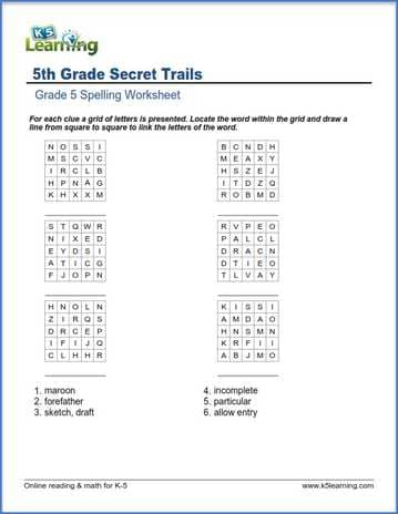 Grade 5 spelling worksheet secret trails