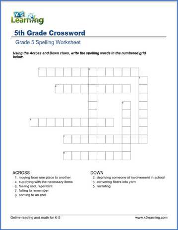 Missing Vowels Grade 5 Spelling Worksheet