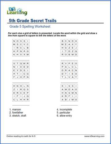 Fifth Grade Spelling Worksheets K5 Learning. Secret Trails Grade 5 Spelling Worksheet. Worksheet. Worksheet For 5th Grade Reading At Mspartners.co