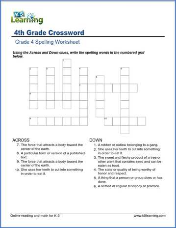 Word Links Crossword Worksheet: Fourth Grade Writing Worksheets At Alzheimers-prions.com