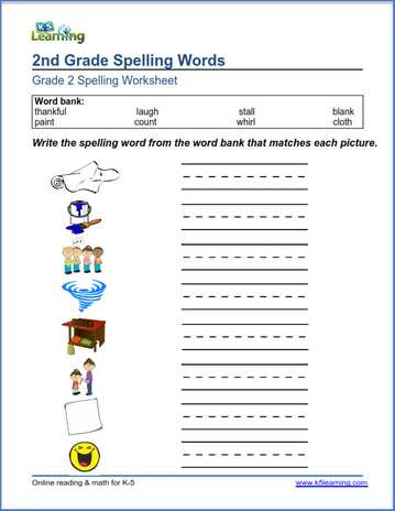Second Grade Spelling Worksheets K5 Learning. Spelling Lists Match S To Words And Write These Worksheets Provide Organized Of Grade 2. Worksheet. 2 Grade Worksheets At Clickcart.co