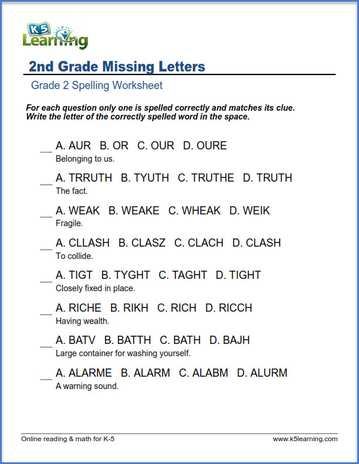 Second Grade Spelling Worksheets K5 Learning. Fill In The Missing Letters Spelling Challenge. Worksheet. 2 Grade Worksheets At Clickcart.co