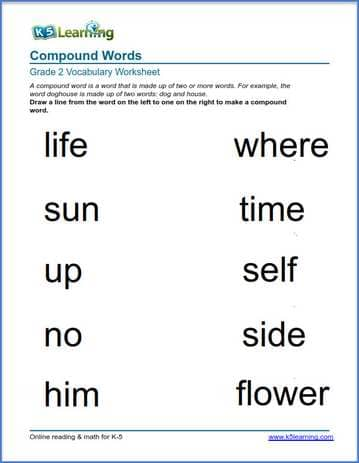 Grade 2 vocabulary worksheet - compound words | K5 Learning