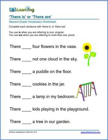 Grade 2 vocabulary worksheet there is or there are in sentences