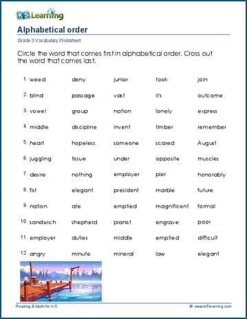 Grade 3 Vocabulary Worksheet Alphabetical Order: Vocabulary Worksheets 1st Grade At Alzheimers-prions.com
