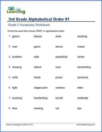 Grade 3 Vocabulary Worksheet Circle Words In Alphabetical Order. Grade 3 Vocabulary Worksheet Alphabetical Order. Worksheet. 1st Grade Vocabulary Worksheets At Clickcart.co