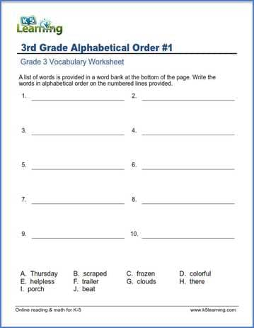 Grade 3 vocabulary worksheet - write words in alphabetical order ...