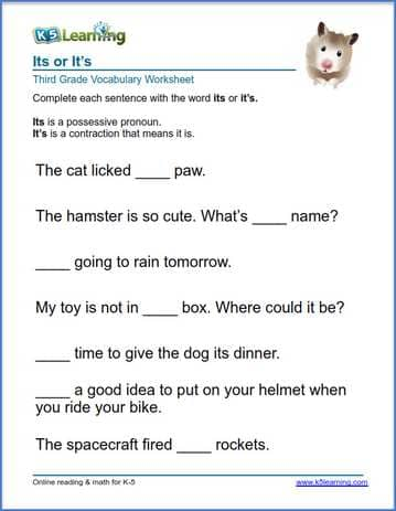 Grade 3 Vocabulary Worksheet on using its or it is in sentences