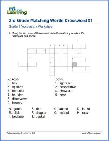 Grade 3 Vocabulary Worksheet synonyms crossword
