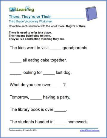 Printable Worksheets grade 3 reading worksheets : Grade 3 vocabulary worksheet - use there, they're or their | K5 ...