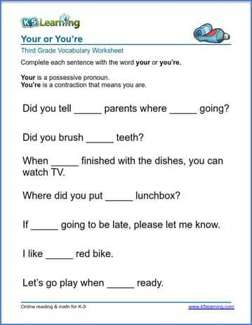 Printable Worksheets grade 3 reading worksheets : Grade 3 vocabulary worksheet - use your or you're | K5 Learning