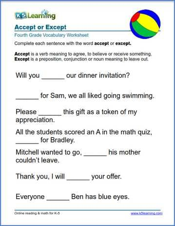 Grade 4 Vocabulary Worksheet on using accept or except in sentences