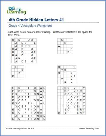 Grade 4 vocabulary worksheet - write missing letters in words | K5 ...