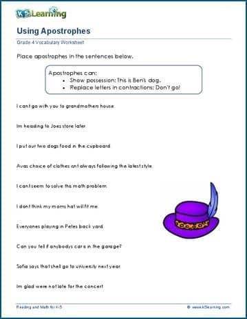 Grade 4 vocabulary worksheet - use apostrophe | K5 Learning