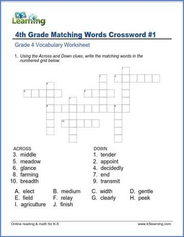 Resource image intended for 4th grade crossword puzzles printable