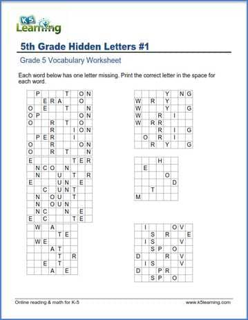 grade 5 english worksheets hidden letters k5 learning. Black Bedroom Furniture Sets. Home Design Ideas