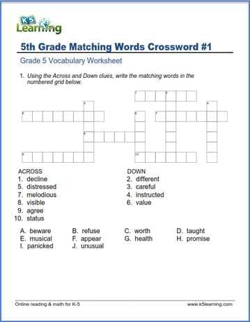 Grade 5 Vocabulary Worksheets – printable and organized by