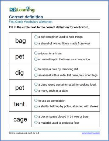 graphic relating to Printable Definitions named To start with Quality Vocabulary Worksheets printable and prepared