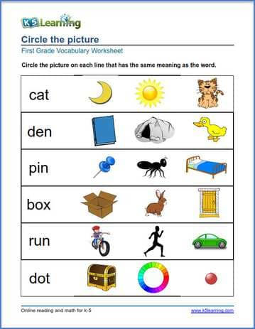 Grade 1 vocabulary worksheet - match pictures to words | K5 Learning