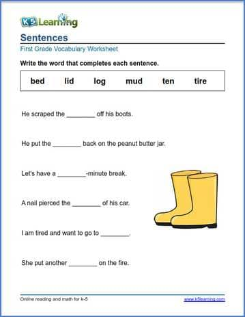 Grade 1 vocabulary worksheet complete the sentence