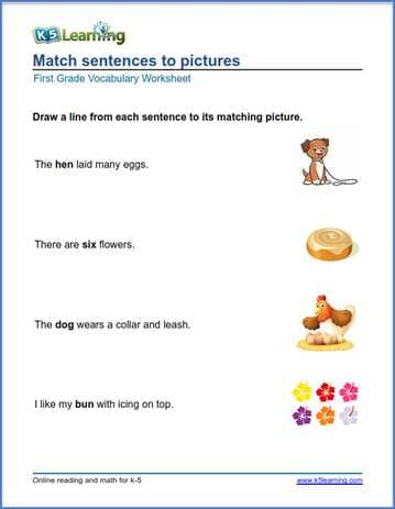 Vocabulary Sentences Worksheets : First grade vocabulary worksheets printable and