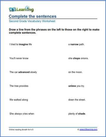 Grade 2 Vocabulary Worksheet Match Phrases K5 Learning