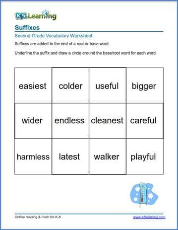 Grade 2 Vocabulary Worksheet - suffixes