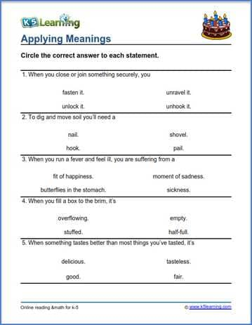 Grade 3 vocabulary worksheet applying meanings