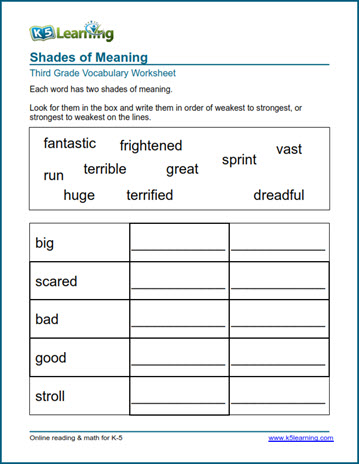 Grade 3 Vocabulary Worksheet shades of meaning