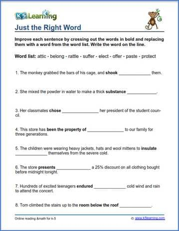 Grade 3 vocabulary worksheet - replace words in sentences | K5 Learning