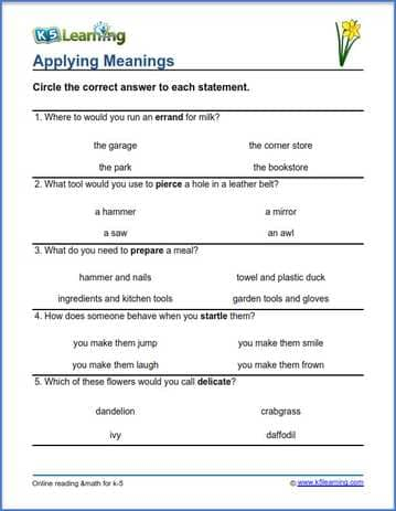 Grade 4 vocabulary worksheet applying meanings