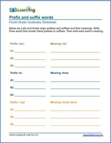Grade 4 Vocabulary Worksheet prefix and suffix words