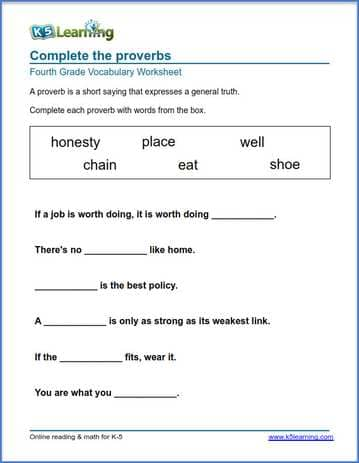 Grade 4 Vocabulary Worksheet complete the proverbs