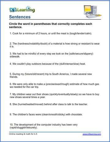 Grade 4 vocabulary worksheet replace words in sentences